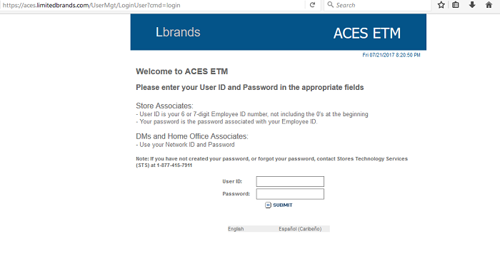 Aces Etm Login Limited Brands Aces Login Aces Etm